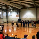 Half-time free throw competition at Paris Hoops Tournament 2012